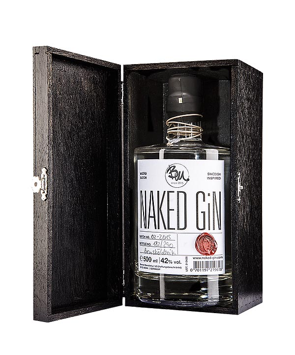 Naked Gin 0,5L Flasche Geschenk Holzbox