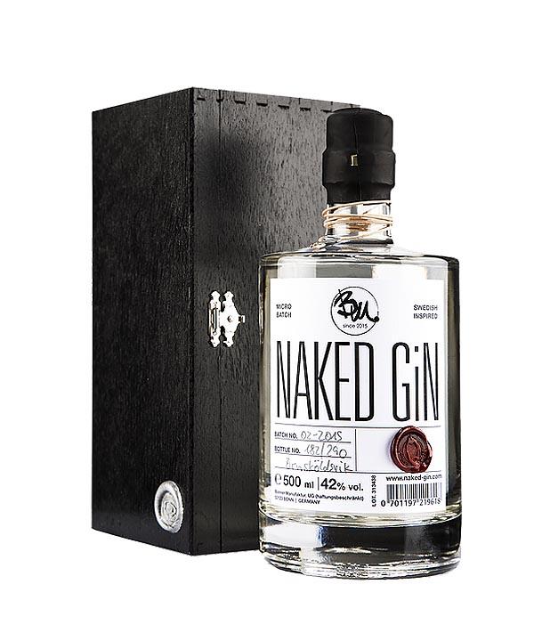 Naked Gin 0,5L Flasche Geschenkbox Holzbox